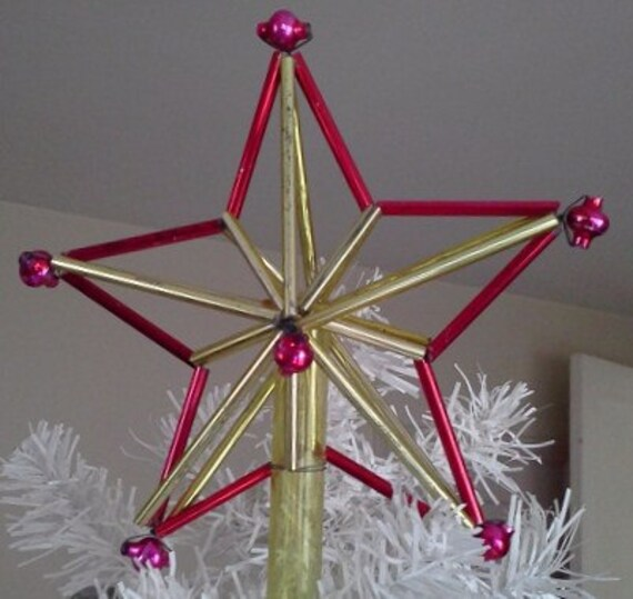 Russian tree topper glass christmas star