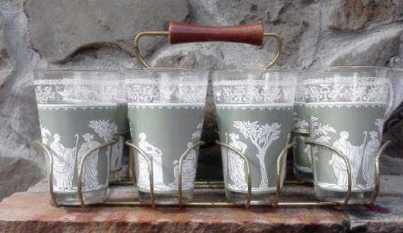 Hellenic Glass Caddy Set With 8 Tumblers