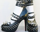 Studded Black Leather Super Gaga Spike High Heels Shoes Size 37 US 7