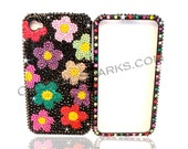 Crystal Jet Black Flowers Garden Case cover made with Swarovski Elements for iPhone 5