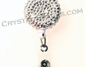 Austrian Crystal Strass Deco Retractable ID Reel Badge Holder Lanyard