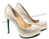Custom Crystal Strass Service for Wedding Pump Heels Shoes made with Austrian Crystals