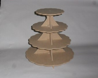 4 Tier Cake / Cupcake Stand   SCALLOP MDF