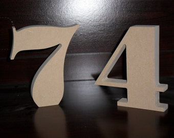 "6"" Number Wooden Table Numbers Stand Alone wood MDF 3/4"" set 1-22"