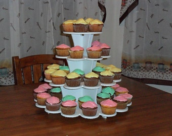 4 tier Flower Cupcake Stand White PVC