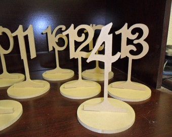 "Wooden Table Numbers 6"" Tall 3"" numbers on a stem with base Set 1-27 MDF / wood"