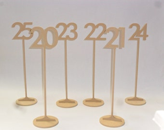 "Table Numbers 15"" Tall 3"" number Futura Font  with base 1-25"