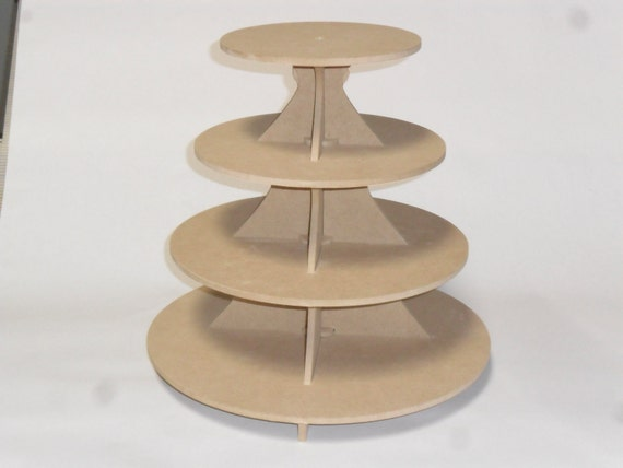 "4 Tier Round Cake / Cupcake Stand MDF 3.5"""