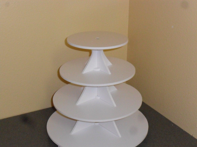4 Tier Round Cake Cupcake Stand White PVC