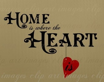 Home is where the Heart is Clip Art Text, Hybrid Vintage and Hand Drawn, Royalty Free, Commercial Use, No Credit Required