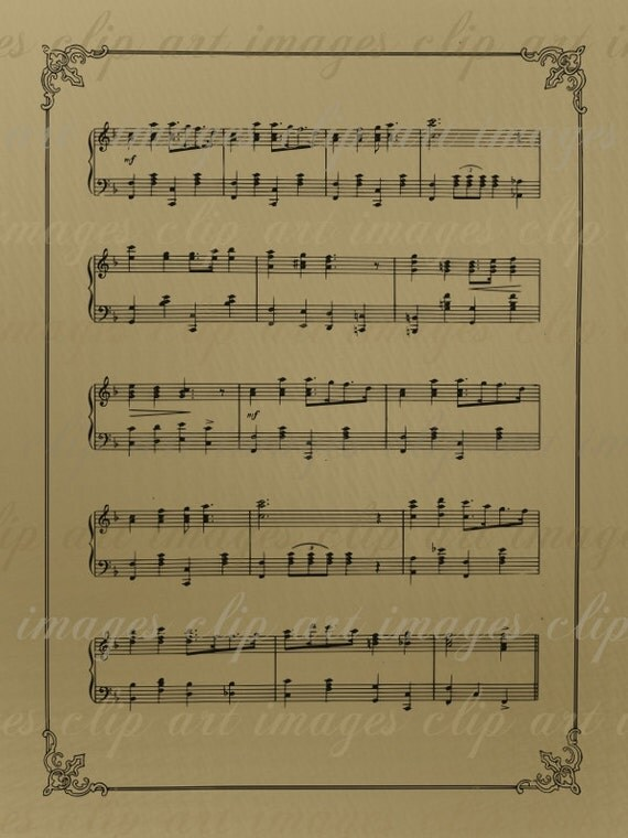 Vintage Sheet Music Clip Art-perfect for collages, crafts and designs Royalty Free, No Credit Required