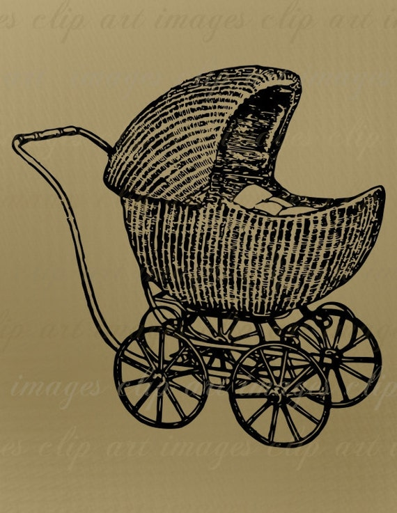 Baby Clip Art Vintage Baby Carriage 1920 Royalty Free