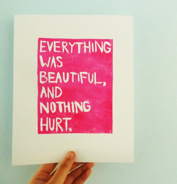 Items similar to LINOCUT PRINT - Quote, Kurt Vonnegut ...