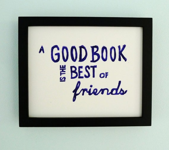 LINOCUT PRINT - Books, Reading, Library - A Good Book Is The Best of Friends (Violet) Linocut Art 8x10