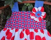 Bight Red/White/Blue Polka Dot Knot Dress---Size 3/4