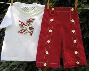 Red patriotic sailor pants and pinwheel tee shirt