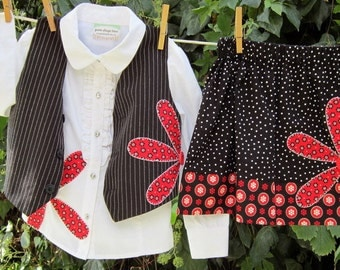 Black/Red Large Daisy---3 piece outfit--- Vest, Shirt, Skirt Set---Size 3