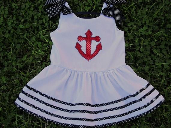 Anchors Away--Drop waist white dress----size 18 mo