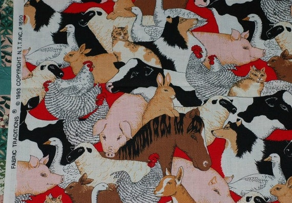 "BARNYARD ANIMALS Fabric 1993 30"" - Cow Horse Chicken Sheep Goat Pig Duck Cat Dog"