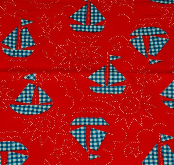 RESERVE LISTING for ANITA - Nautical Fabric - Deep Blue Gingham Plaid Sailboats on Bright Red