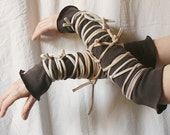 Funky Wrapped Wrists, Cuffs, Arm Warmers. Brown and Beige. Eco Tattered Style.
