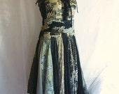 Fairy Tattered Dress  Size M L Medium Large Upcycled Clothing Romantic Black and Dark Olive Funky Style Shabby Chic Eco Friendly Style