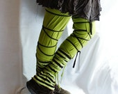 Leg Warmers in Green and Brown Eco Funky Style Upcycled Woman's Clothing Shabby Chic Eco Friendly Style Upcycled Clothing