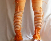 Leg Warmers in Orange Upcycled Woman's Clothing Eco Funky Style Shabby Chic Eco Friendly Upcycled Clothing Spring Fashion Accessories - cutrag
