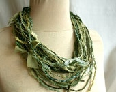 Tattered Necklace Green Jagged Fabric Necklace Upcycled Woman's Clothing Eco Funky Style Shabby Chic Eco Friendly Style
