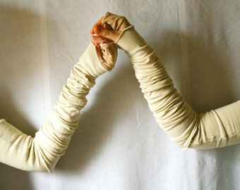 Cream Long Arm Warmers Upcycled Clothing Funky Creased  Wrapped Wrists Cuffs Eco Tattered Style Woman's Clothing