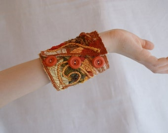 Orange Brick Tangerine Fiber Cuff Upcycled Woman's Jewelry Made from Recycled Clothing Textile Bracelet Crazy Patchwork
