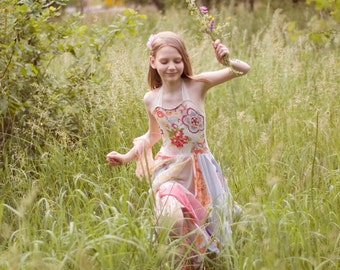 Tunic Junior Bridesmaid  Dress Pastel Wedding Flowers Girl Fairy Upcycled Tattered Romantic Dress Shabby Chic Funky Eco Style