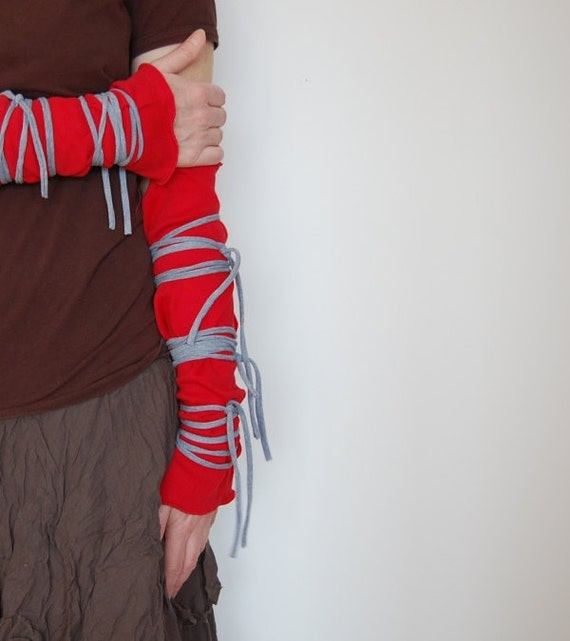 Arm Warmers Upcycled Woman's Clothing Funky Wrapped Wrists Red Gray Eco Tattered Style Shabby Chic Eco Friendly Style Upcycled Clothing