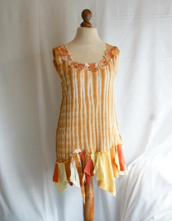 Orange Tunic for Every Day Size L Large Casual Woman's Dress Funky Eco Upcycled Tunic Woman's Upcycled Clothing Eco Friendly Style