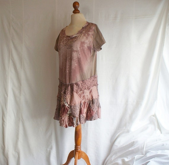 Powder Pink Beige Fairy Tunic L Large Upcycled Woman's Clothing Romantic Dress Funky Shabby Chic Eco Friendly Style Upcycled Clothing