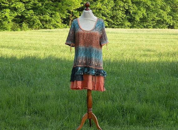 Blue Orange Fairy Tunic Size L XL Upcycled Woman's Clothing Romantic Dress Funky Shabby Chic Eco Friendly Style Upcycled Clothing