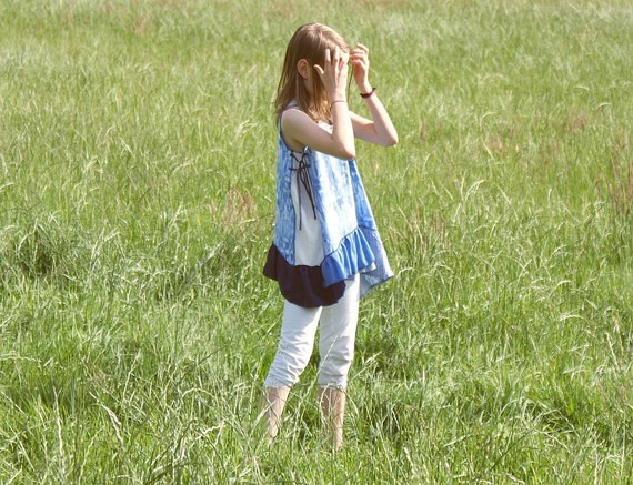 Blue and White Tunic Top Dress for Girl Upcycled Girl's Clothing Tattered Tunic Shabby Chic Funky Eco Style
