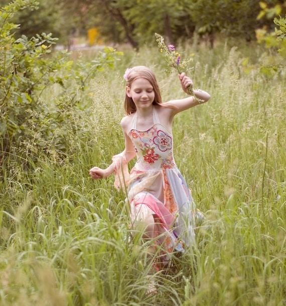 Tunic Junior Bridesmaid  Dress Pastel Wedding Flowers Girl Fairy Upcycled Tattered Romantic Dress Shabby Chic Funky Eco Style