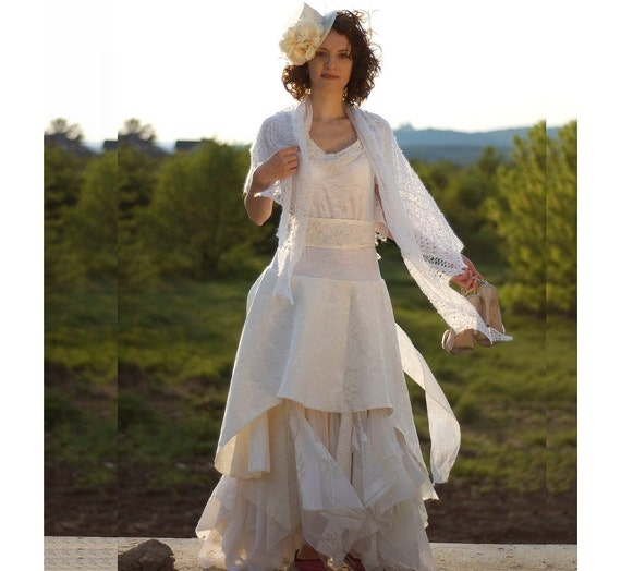 Cream Ivory Off White Fairy Dress Upcycled Wedding Dress Grown Tattered Romantic Dress Upcycled Woman's Clothing Shabby Chic Funky Eco Style