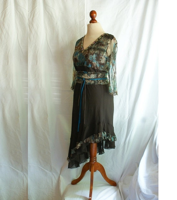 Upcycled Long Dress Babydoll Brown Turquise Asymmetric Fairy Tunic Size M L Woman's Clothing Romantic Dress Funky Shabby Chic Style