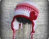Crochet Baby Valentines Day Earflap Hat 0-3 mo 3-6 mo Sale Buy 3 Get 1 Free