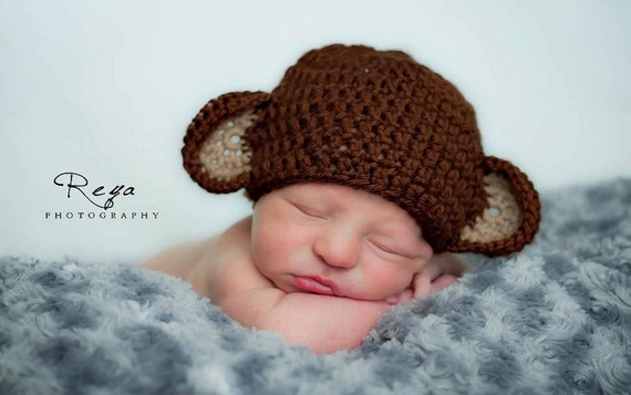 Baby Monkey Hat -- Newborn 0-3 mo and 3-6 mo Sale Buy 3 Get 1 Free