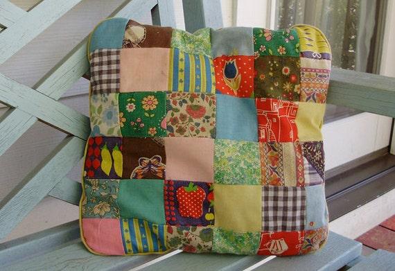 Vintage quilt squares pillow. Shabby Chic decor. Colorful pillow.
