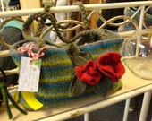 Wool Felt Bag. Hand Knit, Felted, Blue-Green Stripe w/ Red Roses and Glass Beads
