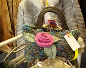 Wool Felt Bag - Hand Knit, Felted, Multicolor w/ Pink Posie and Wood Handles
