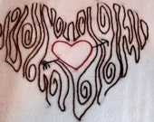 Cute Hand Embroidered Heart Carved In A Tree Dish Towel