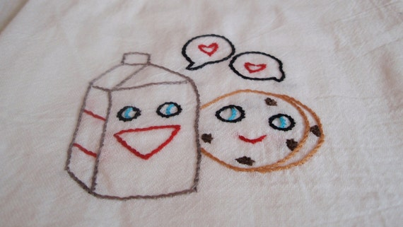 Sweet Cookie And Milk Carton Hand Embroidered Dish Towel