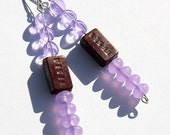 Summer Outdoors TESLA Resistor Earrings Wearable Tech Eco Friendly Jewelry Antique Steampunk Lilac Glass Electronic Part Recycled Technology