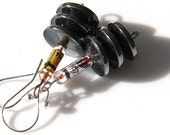 Murder, He Says... Steampunk Earrings. Antique Glass Tube Resistor. Big Hematite. Techno Edge. Electronics. Technology.
