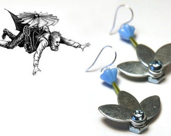 Summer Outdoors Industrial Flower Earrings Steampunk Vintage Earrings Metal Flower Machine Stainless Steel Bolts and Nuts Blue Flower